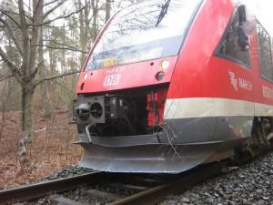 Durch die Wucht des Aufpralls wurde der Zug aus den Gleisen gehebelt. Foto:Bundespolizei