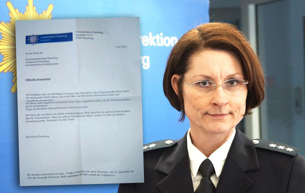 Sonja Kurz, Pressesprecherin der Polizeidirektion Ratzeburg, und die falsche Pressemitteilung Foto:Fischer/hfr