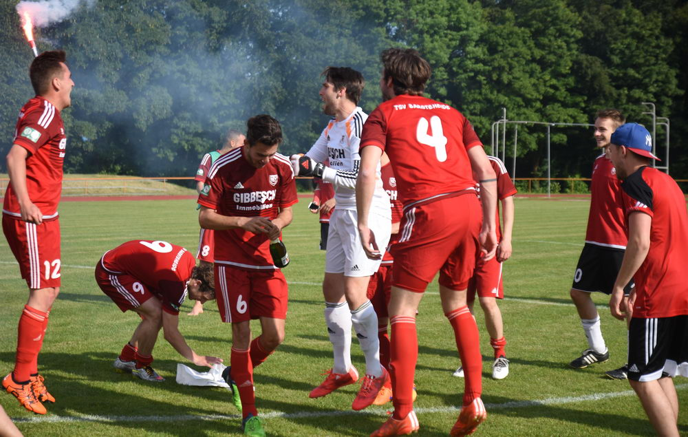 Der TSV Bargteheide feiert den Aufstieg nach dem Abpfiff.