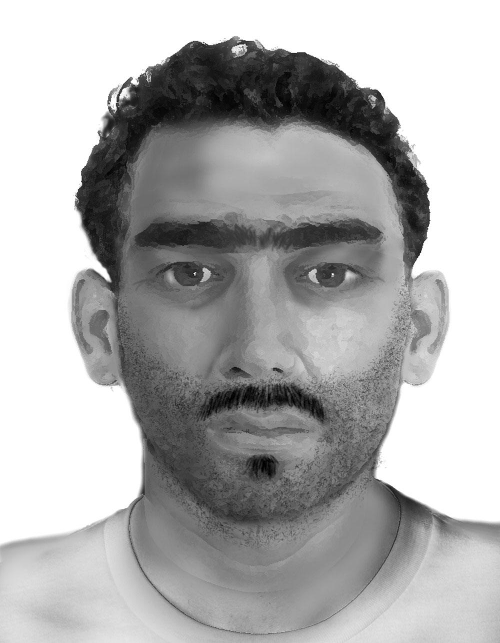 Phantomzeichnung: Dieser Mann soll in Schwarzenbek versucht haben, eine Frau zu vergewaltigen. Foto: Polizei