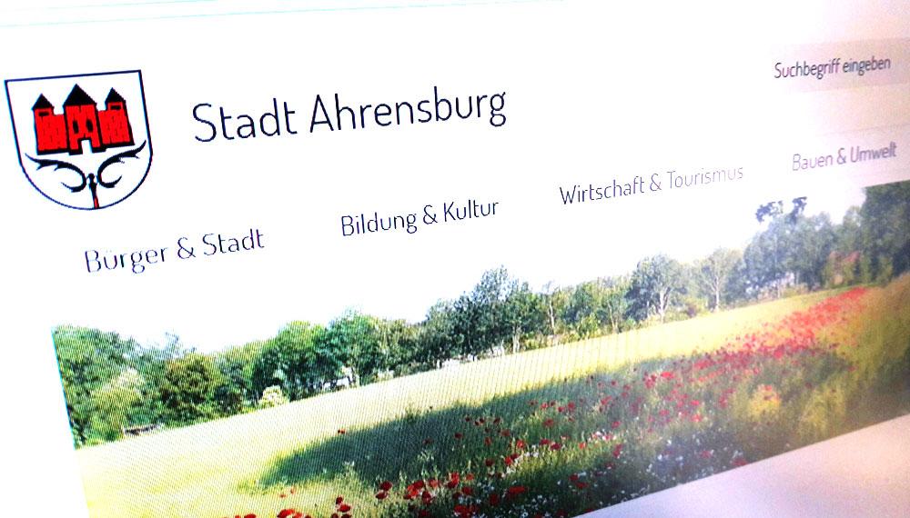Der neue Internetauftritt der Stadt Ahrensburg ist online. Foto: Screenshot
