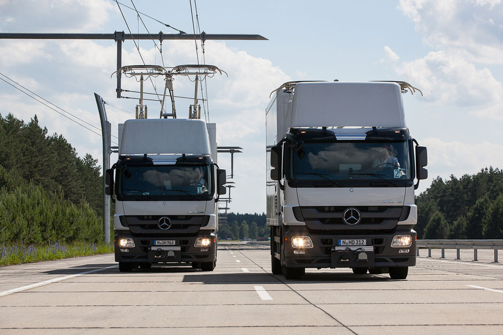 Das Unternehmen Siemens testet bereits seit Jahren Strom-Lkws auf einer Teststrecke. Foto: www.siemens.com/presse