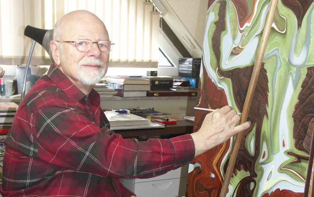 Künstler Bogomil in seinem Atelier in Siek. Foto_ hfr