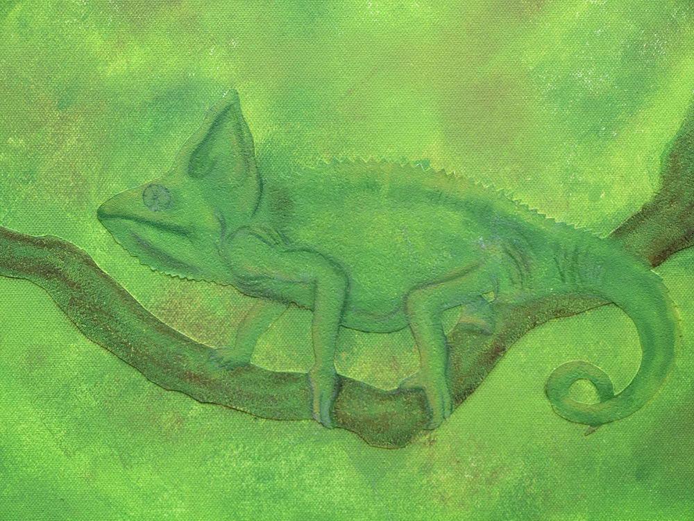 Chamäleon: Acrylbild aus Strukturtapete und Acrylfarbe, vorab wurden die Tiere gezeichnet Foto: Klecks/hfr